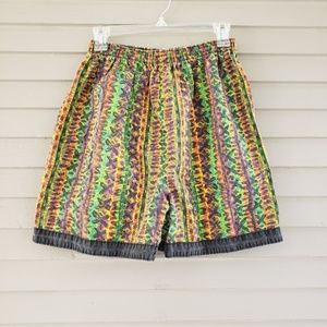 Vintage 90s Colorful Geometric High Waist Shorts